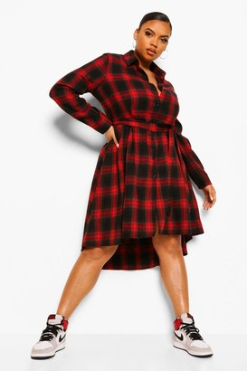 boohoo Plus Check Wrap Belted Shirt Dip Hem Midi Dress