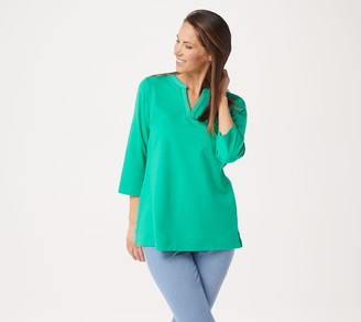 Denim & Co. Essentials Reg Perfect Jersey 3/4-Sleeve Tunic