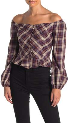 Angie Off-the-Shoulder Ruffle Hem Plaid Blouse