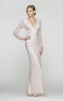Scala 48312 V-Neck Beaded Stripes Evening Dress