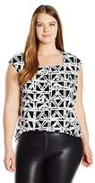 Kasper Women's Plus Size Square Neck Abstract Geo Print Ity Cami