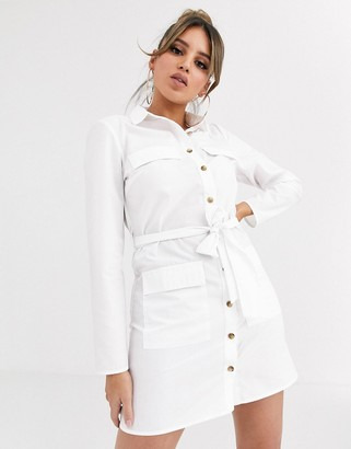 Asos Design DESIGN utility belted mini cotton shirt dress-White