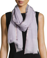 Neiman Marcus Shimmery-Border Fringe Scarf, Lilac/Grape/Gold