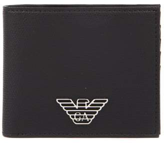 Emporio Armani Black Faux Leather Eagle Wallet