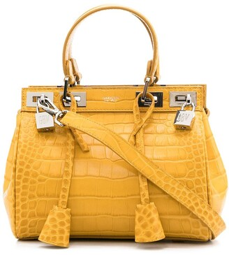 Giambattista Valli Crocodile Effect Leather Tote Bag