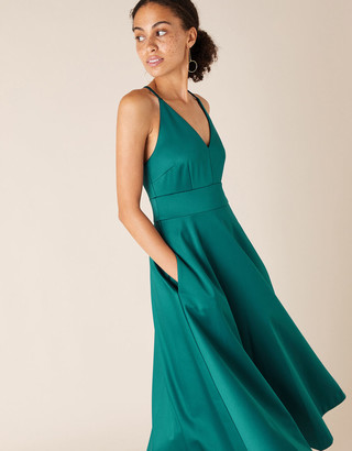 Monsoon Stevie Structured Cross-Strap Midi Dress Teal