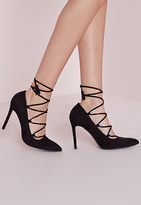 Missguided Lace Up Pointed Pumps Black