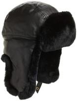 Crown Cap Men's Leather & Genuine Rabbit Fur Trapper Hat - Black