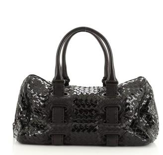 Bottega Veneta Accordion Satchel Intrecciato Patent and Leather Medium