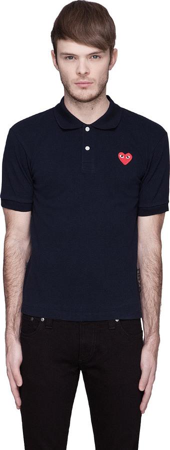 Comme des Garcons Navy Red Logo Polo
