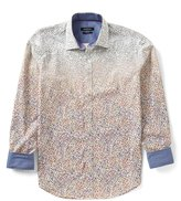 Bugatchi Shaped-Fit Ombre Square Print Long-Sleeve Woven Shirt