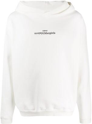 Maison Margiela Flipped-Logo Print Hoodie