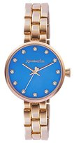 Accessorize Women's Quartz Watch with Blue Dial Analogue Display and Rose Gold Bracelet AZ4002