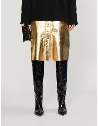 Sandro Gleam metallic leather midi skirt