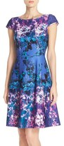 Adrianna Papell Floral Print Scuba Fit & Flare Dress