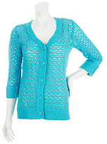 As Is Denim & Co. 3/4 Sleeve V-neck Crochet Cardigan