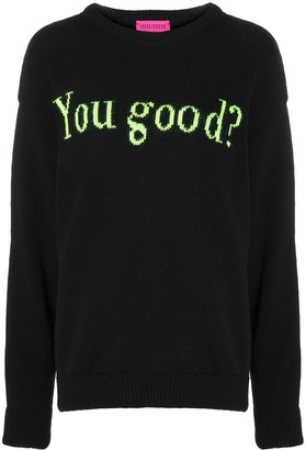 Ireneisgood Intarsia Slogan Knit Jumper