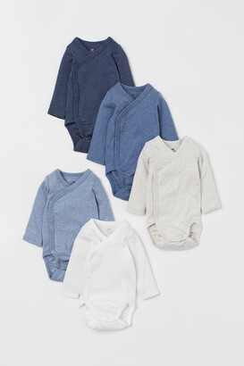 H&M 5-pack Wrapover Bodysuits - Blue
