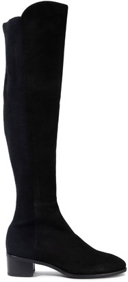Stuart Weitzman Tia Stretch Knit-paneled Suede Over-the-knee Boots