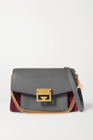 Givenchy Gv3 Small Textured-leather And Suede Shoulder Bag - Gray