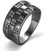 Epinki Gold Plated Women Ring Square Lattice Wedding Engagement Ring Set Size 8