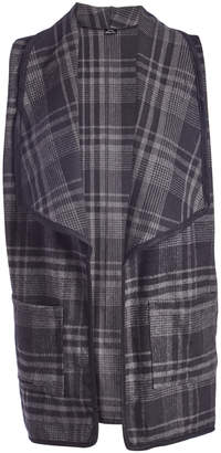 Lvs Collections LVS Collections Women's Outerwear Vests GREY - Gray Plaid Pocket Lapel Vest - Juniors