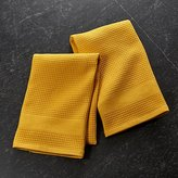 Crate & Barrel Set of 2 Waffle-Terry Yellow Dish Towels