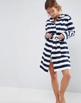 Asos Stripe Jersey Robe In 100% Cotton