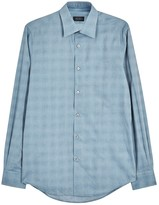 Pal Zileri Light Blue Checked Jacquard Shirt