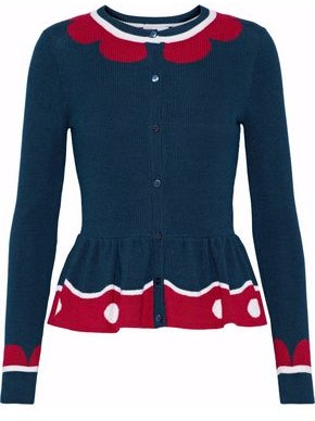 RED Valentino Intarsia Wool, Silk And Cashmere-blend Peplum Cardigan