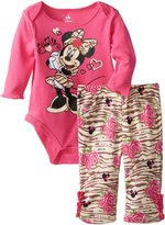 Disney Baby Girls' Minnie Mouse Girl Bodysuit and Pant Set, Zebra, Pink, 3-6 Months