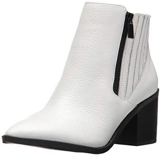 Kenneth Cole Reaction Women's CUE UP Block Heel Bootie Pointed Toe Embossed Ankle Boot