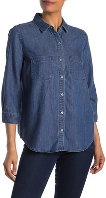 Liverpool Jeans Co Denim 3/4 Sleeve Tulip Shirt