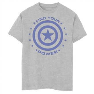 Marvel Boys 8-20 Captain America Find Your Power Simple Shield Graphic Tee