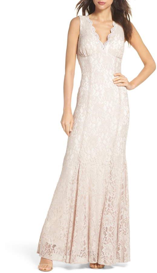 Morgan & Co. Glitter Lace Trumpet Dress