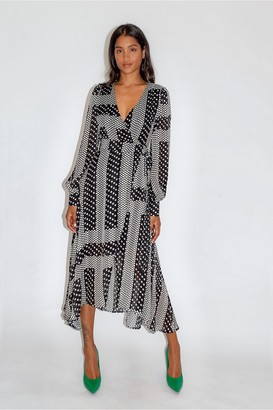 Liquorish Star and Polka Dot Print Midi Fake Wrap Dress
