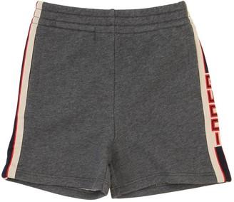 Gucci Logo Side Bands Cotton Sweat Shorts