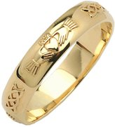 Fado Mens 14k Yellow Bevel Round Claddagh Wedding Band Size 9