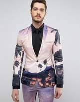 Asos Super Skinny Suit Jacket In Elephant Sunset Print