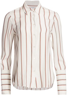 Frame Striped Silk Blouse