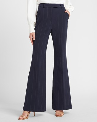 Express Super High Waisted Pinstripe Button Tab Flare Pant