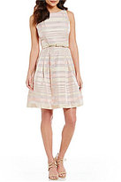 Jessica Howard Petite Multi-Striped Belted Party Dress