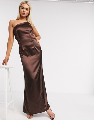 TFNC Bridesmaid one shoulder satin maxi dress in chocolate