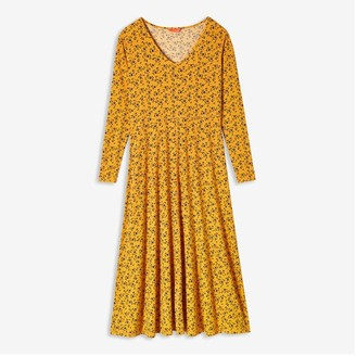 Joe Fresh Women's Print V-Neck Midi Dress, Yellow (Size XS)