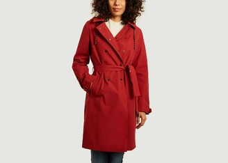 Trench & Coat - Red Mid Length Hooded Sisteron Coat - 34 | red - Red/Red