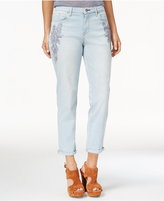 Jessica Simpson Mika Floral-Appliqué Girlfriend Jeans