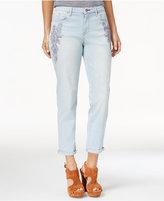 Jessica Simpson Mika Floral-Appliqué Girlfriend Jeans