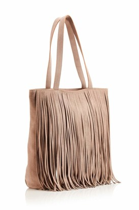 Hill & How Womens Fringed Tote Tote Beige (Taupe/Light Gold)