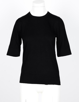Snobby Sheep Black Silk and Cashmere Blend Women's Sweater with 3/4 Sleeve