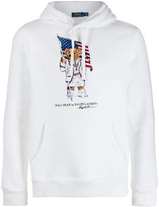 Polo Ralph Lauren bear and flag print hoodie